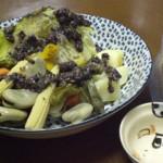 蒸し野菜とアンチョビ梅添え