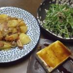 「ジャガイモ・ベーコン煮物風」そして「シャキシャキサラダ」